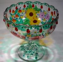 Glass Bowl with hand painted molded accents