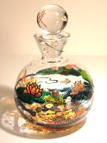 Crystal Decanter with a Handpainted Image of a Water Pond