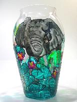 Elephant, Handpainted on a Glass Vase