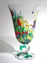 A Flower Garden, Thumbnail Image of garden flowers Handpainted on a Crystal Vase