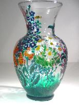 Garden Cluster, Handpainted on a Glass Vase