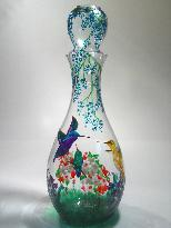 Humming Birds, Handpainted on a Glass Decanter