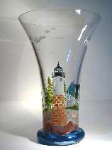Lighthouse, Handpainted on Crystal