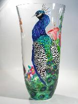 Peacock, Handpainted on Crystal