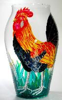 Rooster, Handpainted on a Glass Vase