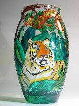 Tiger Lurking behind Bushes, Handpainted on Crystal Vase