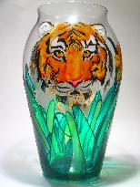 Thumbnail Image of a Tiger Mother with her cubs, Handpainted on a Crystal Vase