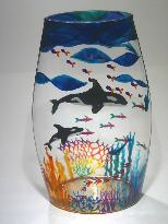 Orca Whale Mother and Baby, Handpainted on a Glass Vase